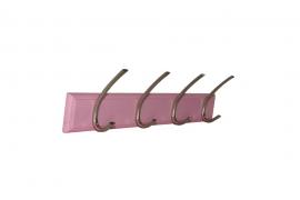 Nagi 4 harjatud nikkel konksuga roosal MDF plaadil